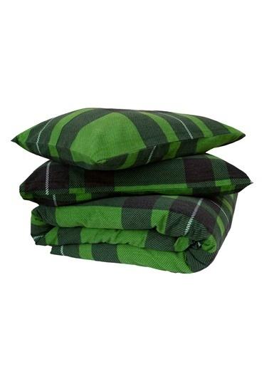 Maki   Battal Boy Nevresim Ve Yastık Kılıfı Seti  Ekose Yeşil